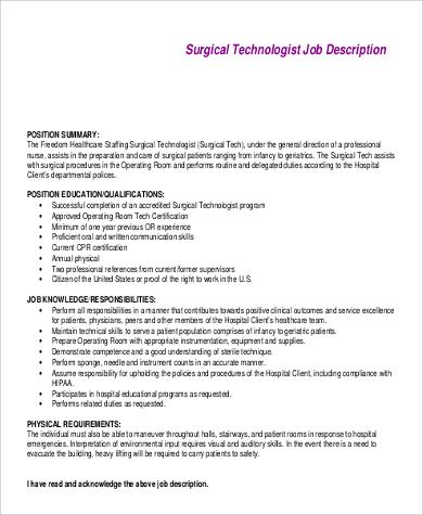 surgical tech job description responsibilities