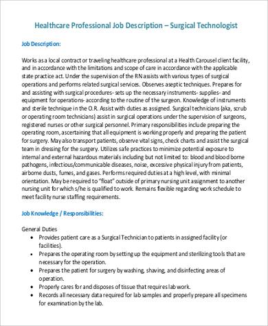 surgical technologist job description duties