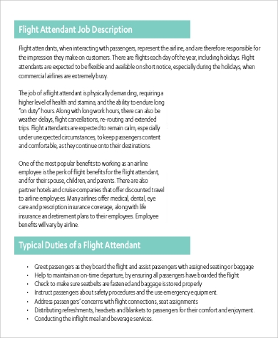 Wonderful Basic Flight Attendant Job Duties Description
