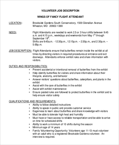 Sample Flight Attendant Job Description - 6+ Examples In Word, Pdf