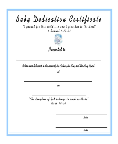 Generous Baby Dedication Certificates Templates Images  Example