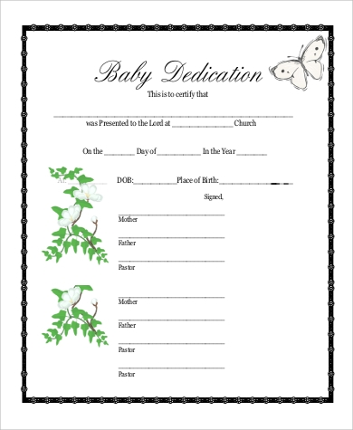 Baby Dedication Certificate   Examples In Pdf