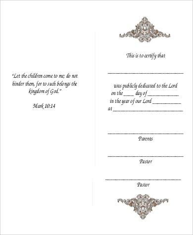 Baby dedication certificate 6 examples in pdf sample baby dedication certificate yadclub Image collections