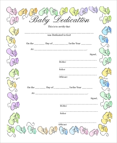 baby dedication ceremony certificate