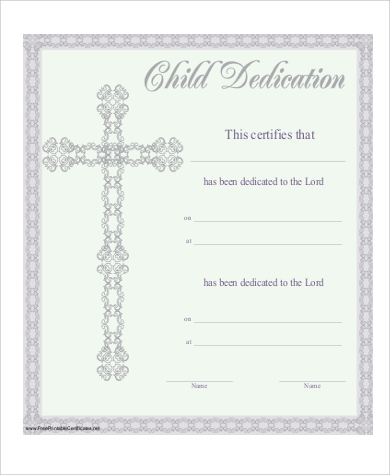 photo regarding Printable Baby Dedication Certificate identified as Youngster Determination Certification - 6+ Illustrations inside PDF