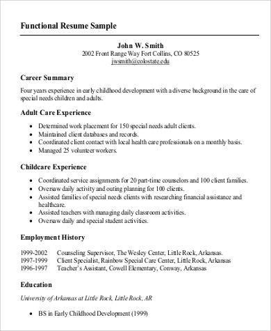 Functional Resume Example  Resume Format Download Pdf