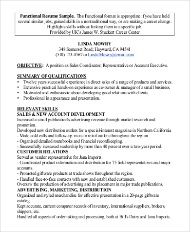 functional executive resume