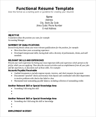 Functional Resume Example   Samples In Word Pdf