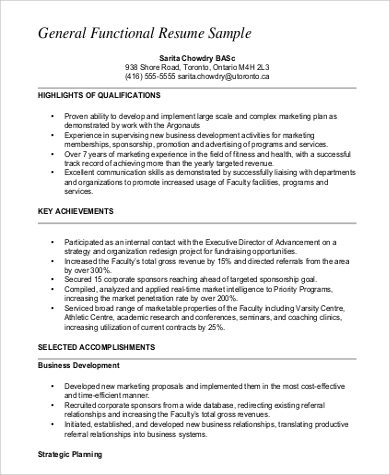 Functional Resume General Functional Resume Sample Odlc Utoronto Ca