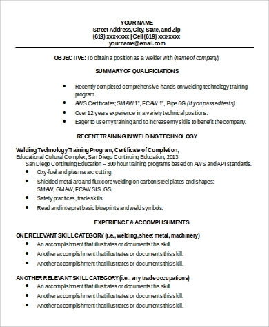 Welding Functional Resume Format In Word