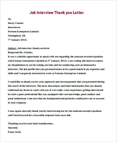 Sample Job Interview Thank You Letter   Examples In Pdf Word