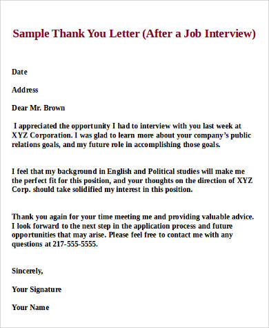 thank you letter after job interview 9 sample thank you letters sample templates 1645