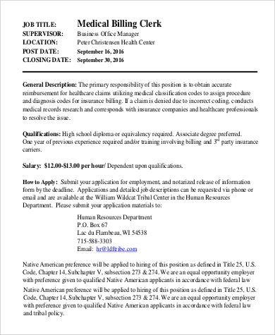 Sample Medical Billing And Coding Job Description - 9+ Examples In