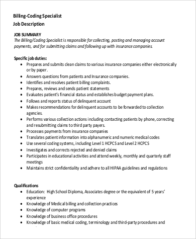 medical billing and coding specialist job description