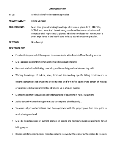 medical billing authorizations specialist job description