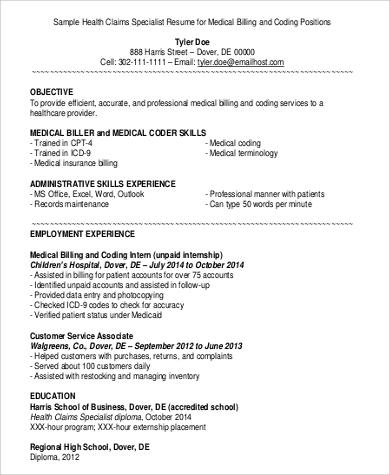 medical billing and coding job description resume