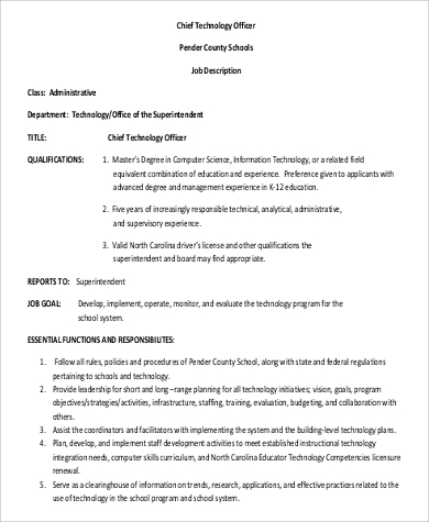 9 cto job description samples sample templates - Insurance compliance officer job description ...