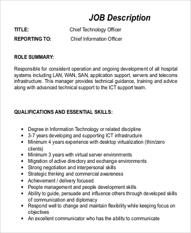 Cto Resume Page  Ceo Position Description Resume Job Description