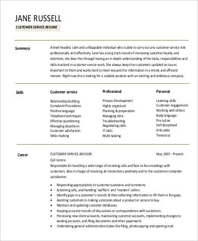 professional customer service resume