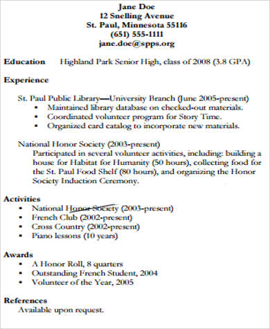 high school college resume