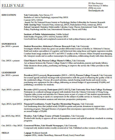 graduating college resume