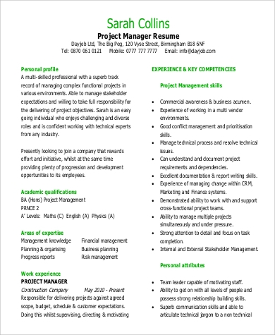 project manager professional resume