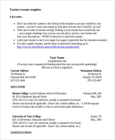 professional teaching resume format