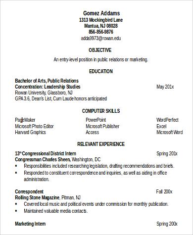 professional resume profile