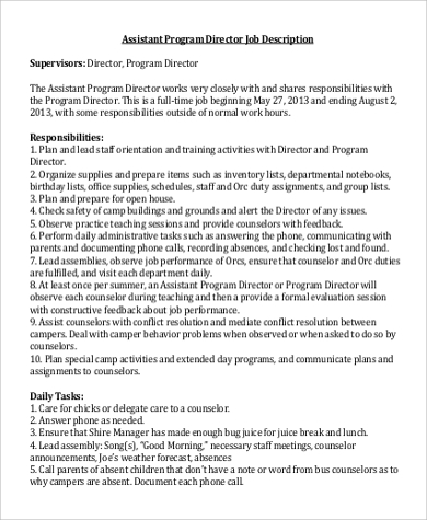 program director assistant job description sample