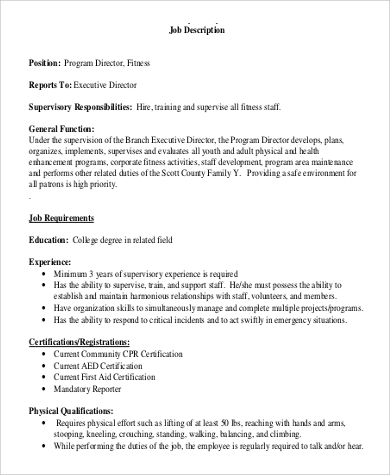 program director fitness job description
