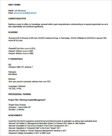 mba hr fresher resume sample