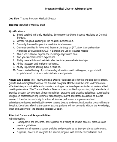 Free Program Medical Director Job Description