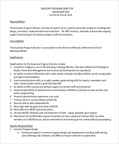 associate program director job description in pdf