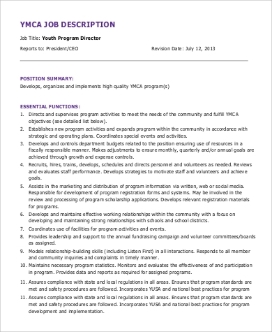 program director ymca job description