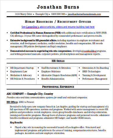 hr recruiter resume