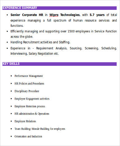 senior corporate hr resume