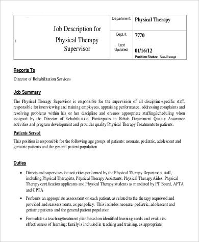 physical therapy supervisor job description