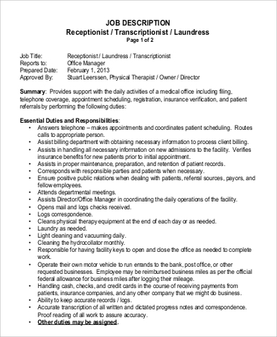 Sample Physical Therapy Job Description - 9+ Examples In Word, Pdf