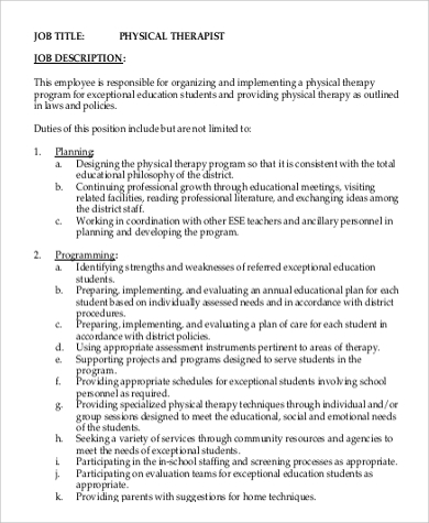 sample physical therapy job description - 9+ examples in word, pdf, Cephalic Vein