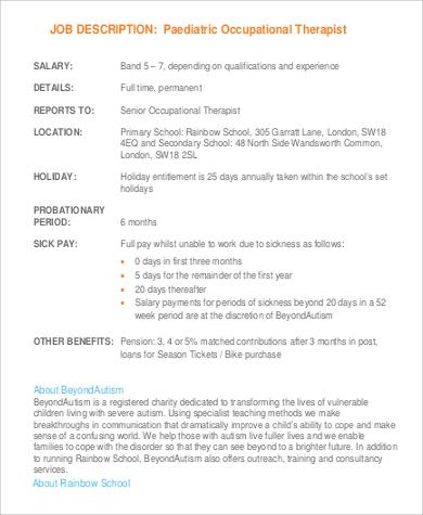 paediatric occupational therapy job description