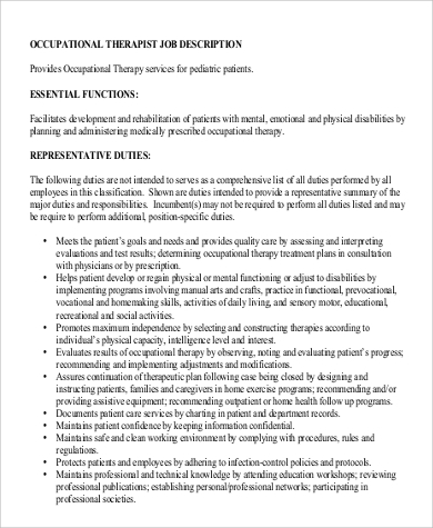 Sample Occupational Therapy Job Description   Examples In Word Pdf