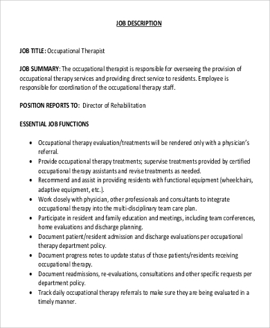 9 occupational therapy job description samples sample