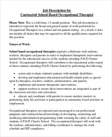Great School Occupational Therapy Job Description