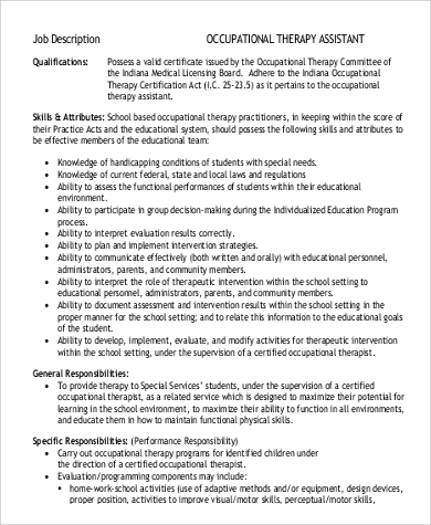 Sample Occupational Therapy Job Description - 9+ Examples In Word, Pdf