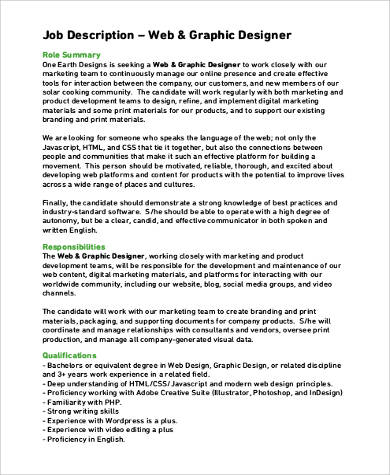Sample Graphic Design Job Description   Examples In Pdf Word