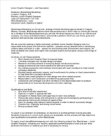 junior graphic designer job description
