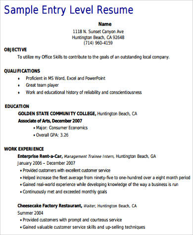 Sample Entry Level Customer Service Resume
