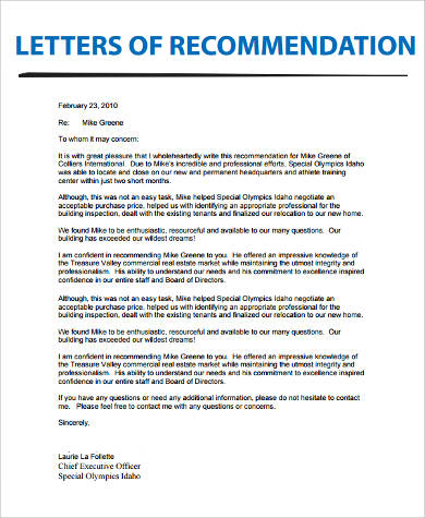 real estate recommendation letter example
