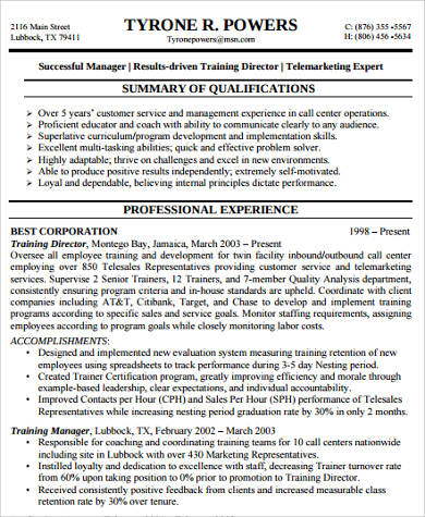 customer service experience resume pdf