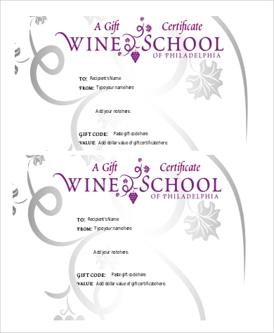 Sample Printable Gift Certificate   Examples In Pdf